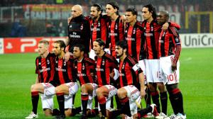 L'équipe du Milan AC avant son match contre Tottenham