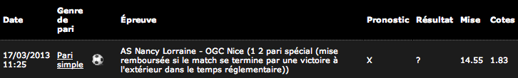 Mon ticket de jeu sur Bwin.fr