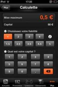 La calculette des mises,  pour calculer sa mise suivant son capital et la fiabilité accordée au pari