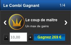 Le coup de maître Netbet propose ici de gagner 268 euros à partir d'une mise de 10 euros.