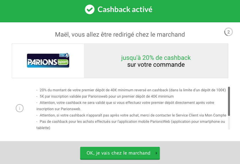 redirection igraal vers parions sport en ligne