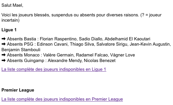 exemple de mail gazon fute