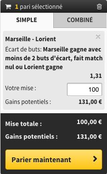 pari Marseille gagne avec moins de 2 buts decart, fait match nul ou Lorient gagne