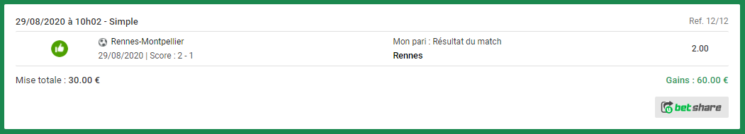 résultat du pari Rennes Montpellier pari gagnant