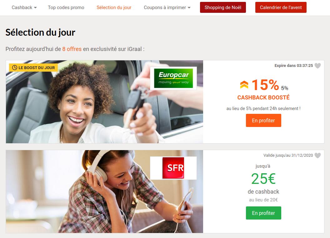 Sélection Du Jour Igraal Hausse De Cashback Et Bon Plan